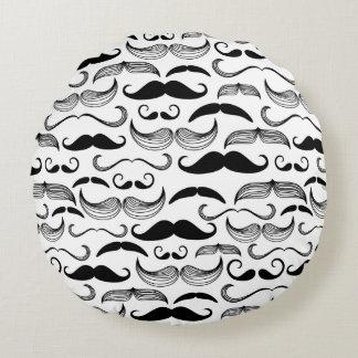 A Gentlemen's Club. Mustache pattern 2 Round Pillow