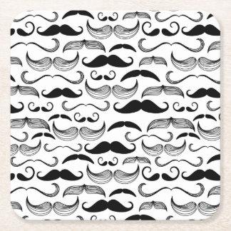 A Gentlemen's Club. Mustache pattern 2 Square Paper Coaster
