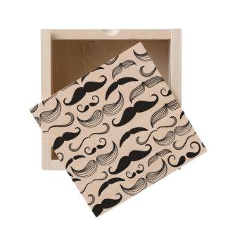A Gentlemen's Club. Mustache pattern 2 Wooden Keepsake Box