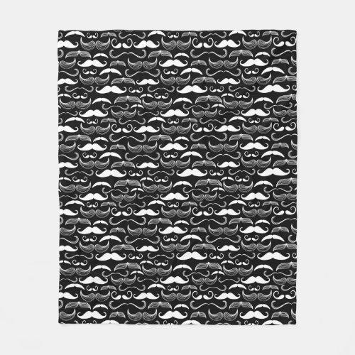 A Gentlemens Club Mustache pattern Fleece Blanket