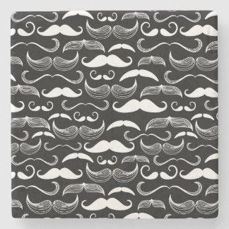 A Gentlemen's Club. Mustache pattern Stone Beverage Coaster