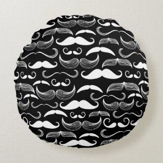 A Gentlemen's Club. Mustache pattern Round Pillow