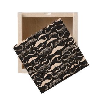 A Gentlemen's Club. Mustache pattern Wooden Keepsake Box