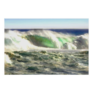 A Giant Wave Rolling in to Shore Print
