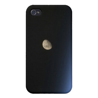 A gibbous moon visible above Earth's atmosphere 2 iPhone 4 Case