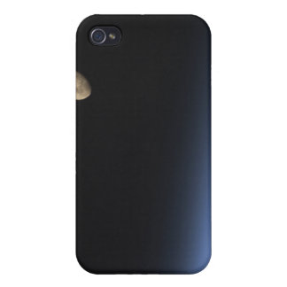 A gibbous moon visible above Earth's atmosphere iPhone 4/4S Cases