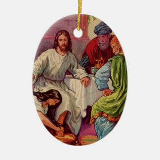 A Gift for Jesus Double-Sided Oval Ceramic Christmas Ornament