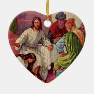 A Gift for Jesus Double-Sided Heart Ceramic Christmas Ornament