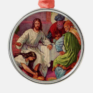 A Gift for Jesus Round Metal Christmas Ornament