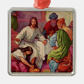 A Gift for Jesus Square Metal Christmas Ornament