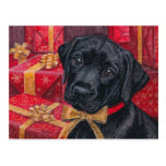 A Gift for You Black Lab Pup Christmas postcard