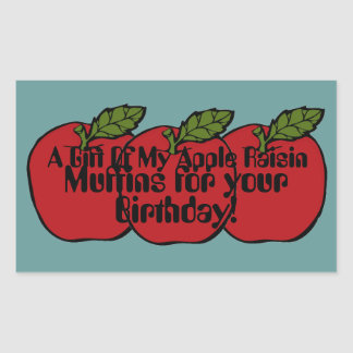 A Gift of My Apple Raisin Muffins Red Apple Label Rectangle Stickers