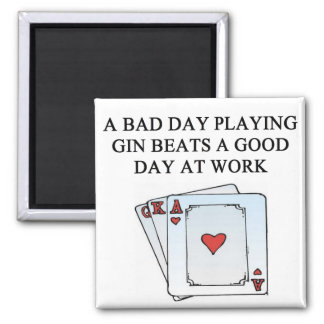 a gin player 2 inch square magnet