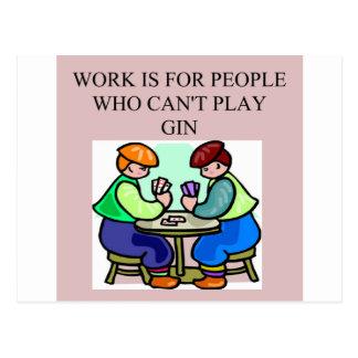 a gin player postcard