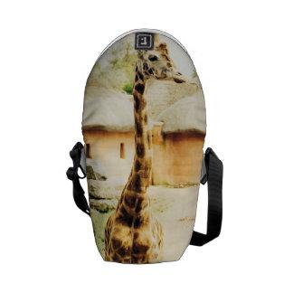A Giraffe In An African Village, Animal Photograph Courier Bag