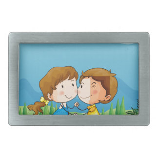 A girl and a boy dancing at the park rectangular belt buckle