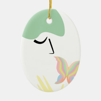 A girl and a butterfly ceramic ornament