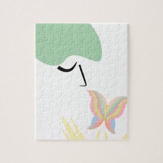 A girl and a butterfly jigsaw puzzle