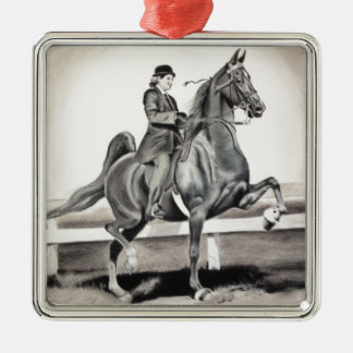A Girl and A Dream by Linda Dalziel Square Metal Christmas Ornament