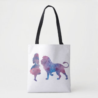 A girl and a lion tote bag