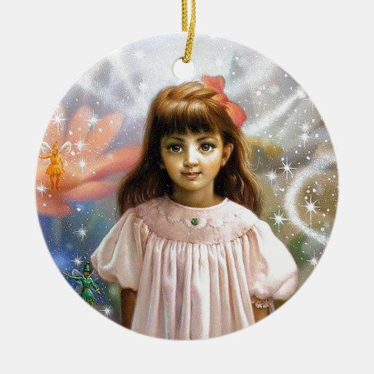 A girl and a seven fairies 2 ceramic ornament