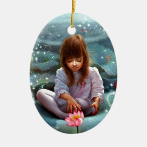 A girl and a seven fairies 3 Double-Sided oval ceramic christmas ornament