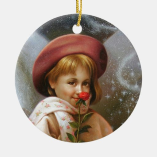 A girl and a seven fairies ceramic ornament