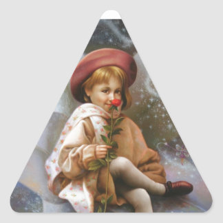 A girl and a seven fairies triangle sticker