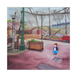 """A Girl and an Amusement Park that is Asleep...."" Canvas Print"