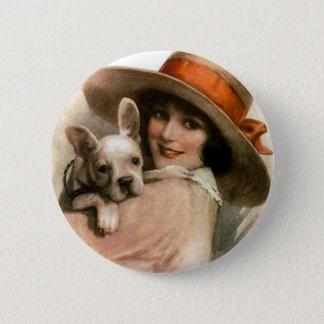 A Girl and Her Dog Button