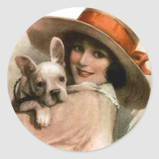 A Girl and Her Dog Classic Round Sticker