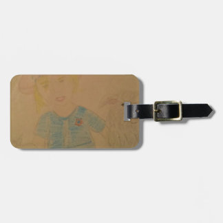 A girl and her dog. luggage tag