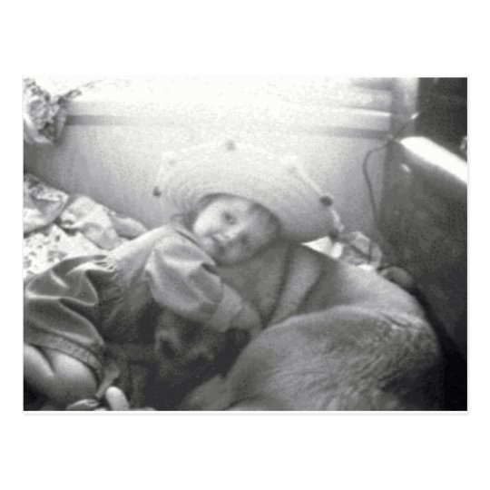 A girl and her dog... postcard
