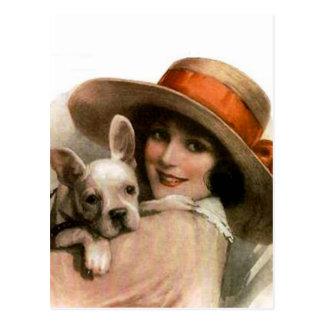 A Girl and Her Dog Postcard