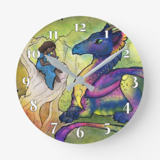 A Girl and Her Dragon Round Clock