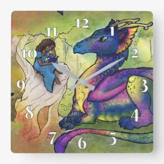 A Girl and Her Dragon Square Wall Clock