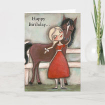 A Girl and Her Horse - Birthday Card