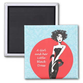 """A Girl and her Little Black Dress 2""""x2"""" Magnet"""