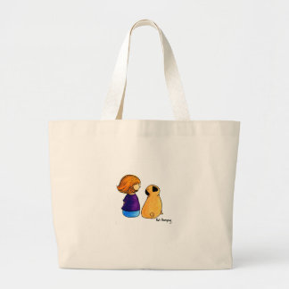 A Girl and Her Pug blonde Canvas Bags