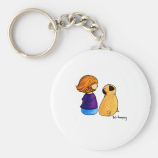 A Girl and Her Pug (blonde) Keychain