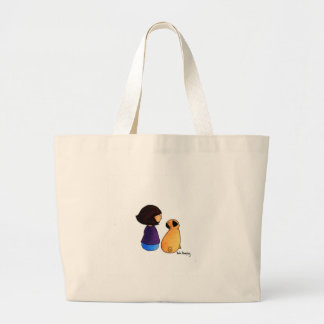 A Girl and Her Pug (brunette) Large Tote Bag