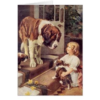 A Girl and Her Saint Bernard Dogs, Card