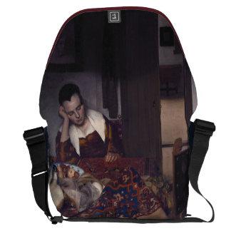 A Girl Asleep by Johannes Vermeer Messenger Bag