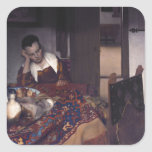 A Girl Asleep by Johannes Vermeer Square Sticker