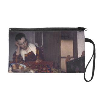A Girl Asleep by Johannes Vermeer Wristlet