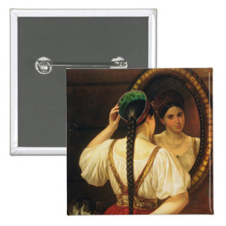 A girl at the mirror, 1848 pinback button