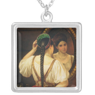 A girl at the mirror, 1848 silver plated necklace