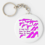 A Girl Can't Have Too Many Shoes Or Guns Basic Round Button Keychain