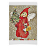 A girl dressd with santa claus with wings and gift poster