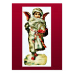 A girl dressed like an angel has basket of holy le post card